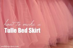 Leah's tutu bedskirt is finished and I love it!  I think it is the prettiest bedskirt I have ever seen!  This is for my beautiful little girl who loves pink.  As promised, here is the tutorial for how to make a tulle bedskirt. I'm not going to lie, this project …