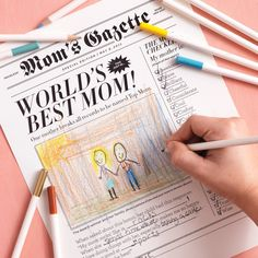 FREE Printable Mother's Day Newspaper!  Honor Mom by publishing your own Mother's Day newspaper. Print the newspaper clip art onto ivory paper, fill in, and add a drawing or a photo.  Source Martha Stewart Living, May 2011