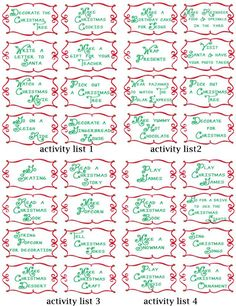 a list of 100 different advent activities... ok there are a couple of repeats, but she has the tags to print them off. Super cute!
