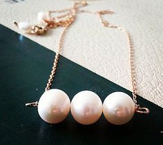 Trio  Lily White Pearl Gold Necklace Smooth Elegant by sukran, $32.00