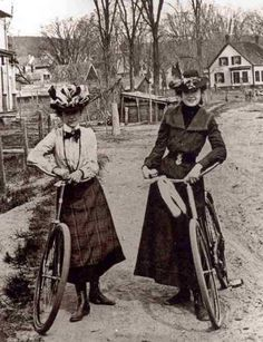 Women with bicycles, 1890s.