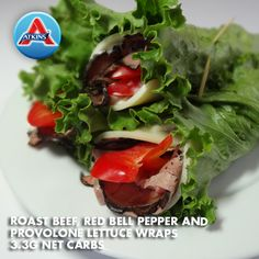 Roast Beef, Red Bell Pepper & Provolone Lettuce Wraps are a portable choice for lunches and good for all phases.