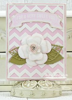 Banner Greetings, Banner Greetings Die-namics, Chevron Cover-Up Die-namics, Hybrid Camellia Flower Die-namics, Layered Leaves Die-namics - Mona Pendleton #mftstamps