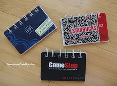 bind it all notebooks with old gift cards