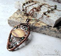 Wire Wrapped Copper  Necklace with Shell by DebrasDivineDesigns,