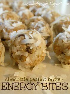 Chocolate Peanut Butter Energy Bites on MyRecipeMagic.com #dessert #recipe