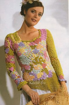 Crochet lace motif blouse with diagrams