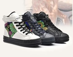 Latest fashion flowers velcro closure high top sneakers YD-6209-Lovelyshoes.net