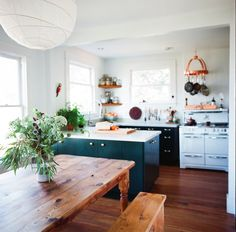 Copper accents in the kitchen // House Call with Los Angeles Jeweler Kathleen Whitaker, Echo Park, Kitchen | Remodelista