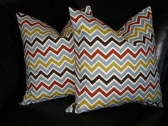 CHEVRON pillows Zig Zag 20x20 brown, rust, blue, olive and ivory Decorative Throw Pillows zigzag set of TWO 20 pillow shams