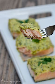Baked salmon with herb mustard glaze
