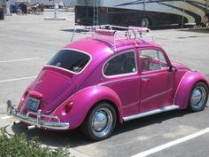 Pink Vintage VW Beetle