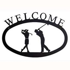 Wrought Iron Golf Couple Welcome Sign at Timeless Wrought Iron