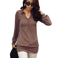 Allegra K Women Point Collar Long Sleeve Tunic Shirt Coffee Color XS