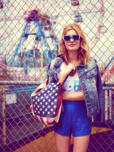Camille Rowe Sports Americana Style for Free Peoples June Lookbook