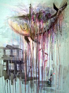 Lora Zombie. watercolor art, artists, double rainbow, watercolor paintings, artworks, painting art, colors, zombies, whales