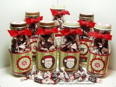 holiday ideas, gift ideas, recycled bottles, christmas candy, diy gifts, small gifts, mason jars, little gifts, christmas gifts