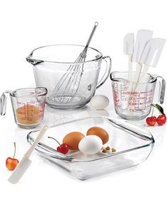 Tried and true, this baking and measuring set has proven to be a kitchen classic. Get it here: http://www.bhg.com/shop/anchor-hocking-anchor-hocking-mix-measure-baking-9-piece-set-p505d93e982a71c80fe0f7e5d.html