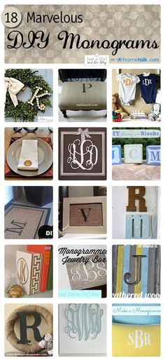 18 Marvelous DIY Monogram Ideas! | Just a Girl and Her Blog