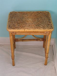 Wicker Bamboo Side Table by jcsVintage on Etsy