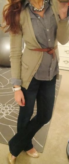 Fall Work Outfit With Plain Belted Cardigan Check out Dieting Digest
