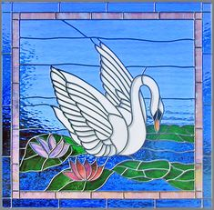 Custom stained and leaded glass swan 8 window