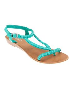 turquoise, leather sandal, summer shoes, sandals, zulilyfind, closet, matiss, zulili today, turquois erica