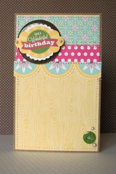 Have A Wonderful Birthday Card by Nicole Nowosad using Jillibean Soup's Southern Chicken Dumpling Soup and Soup Staples paper, Southern Chicken Dumpling Soup Pea Pod Parts, Coconut Lime Soup Chipboard Epoxy Buttons, and Baker' Twine (via the Jillibean Soup blog).