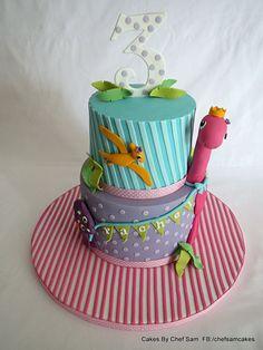 Girly Dino cake - by chefsam @ CakesDecor.com - cake decorating website