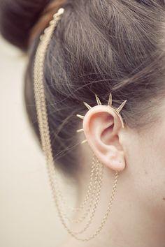 ASOS trade jewelry, European and American punk style rivets tassel earrings hair accessories-ZZKKO