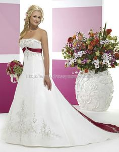 Buy Princess Strapless Classic Style Satin Wedding Dresses SAWD-30124 with Embroidery Wedding Dresses under $352.99 only in Dressywomen.