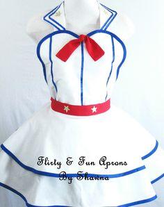 Flirty Patriotic Pin Up Sailor Apron Costume