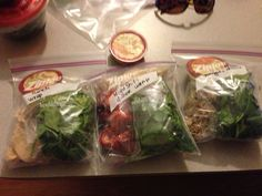 Pre-make meals, put in individual bags, grab and go. Healthy eating on the go!!
