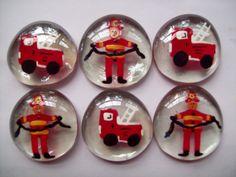 Hand painted large glass gems party favors firemen fireman fire trucks. $5.00, via Etsy.