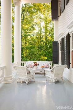 Historic restoration bydesigner Amelia Handeganin Virginia. Veranda.