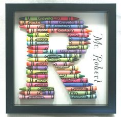 Great baby or teacher gift! Crayon Letter Shadow Box Frame by TenleeDesigns on Etsy, $25.00