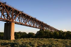 The railroad bridge over the Cimarron River in Seward County, Kansas - it was built in 1939. Photo by Neil Croxton
