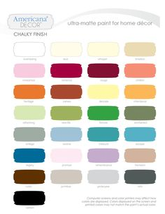 Home Depots Americana Decor Chalky Finish Paint Color Chart... got some good reviews! Cheaper than annie sloane.