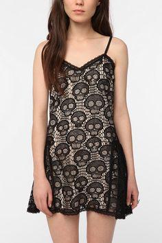 Betsey Johnson skull crochet slip dress