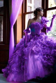 Purple wedding gown-