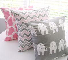Pillow Decorative Pillows Children Kids Room Baby Nursery Pink Giraffe  Gray Elephant  Pink and Gray Zig Zag 3 Covers. $48.00, via Etsy.