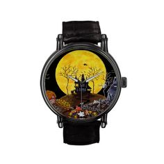 "Vintage Leather Strap and featuring original art titled ""Keep Running"" by Christine Altmann .Mfg. exclusively through Zazzle.com The Vintage eWatchFactory Watch is a big-faced timepiece that will never go out of style. Featuring a three-hand quartz movement and genuine leather strap, this watch's classic look is great for formal or fun occasions. Black leather strap with buckle closure. Water resistant to 30 meters. Three-hand quartz movement. Powered by battery (included)."