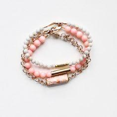 Gemstone Bracelets in Pink and Grey