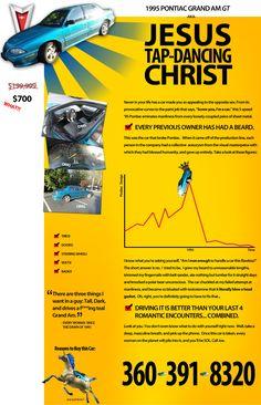craigslist ad, jesus, funni, christ, beard, unicorn, teal, car ad, used cars