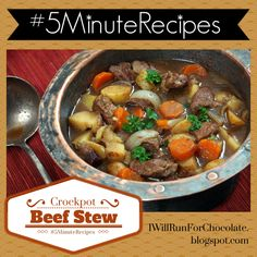 Gluten Free Crockpot Beef Stew - simple and savory stew can be prepped in only 5 minutes!  #5MinuteRecipes