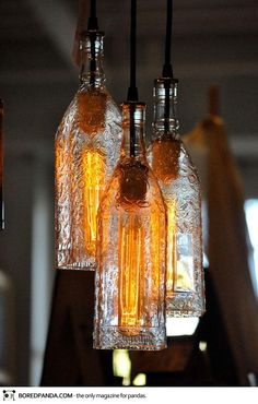 Bottles Into Pendant Lamps-15 Creative Ways to Repurpose