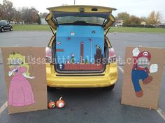 Fun idea and instructions for a Mario Bros. family themed trunk or treat!