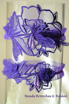 Wedding Garter Set,Purple Wedding Garter, Bridal Garter Set Purple,Eggplant Garter,Lace Garter Set,Sequin-pearl Garter