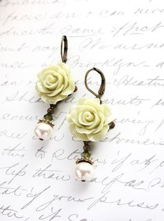 Rose Earrings Light Green Pearl Drop Floral!