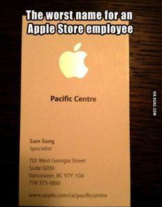 business cards, appl store, jokes, funni, names, sam sung, apples, samsung, design styles
